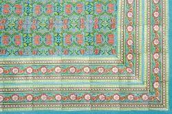 Hand Block Printed Flower Bedspread
