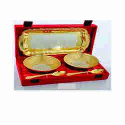 Gold Plated 2 Bowls And 1 Tray With 2 Spoon