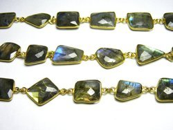 Labradorite Irregular Shape Gemstone Bezel Connector Chain