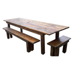 Brown Rustic Wood Outdoor Dining Table
