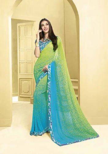 4419124218a Priya Fashion Printed Designer Light Blue  Light Green Saree at Rs ...