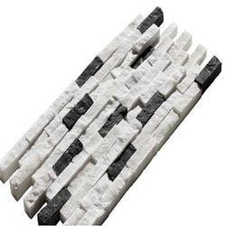 White/Black Split Mosaic Tile