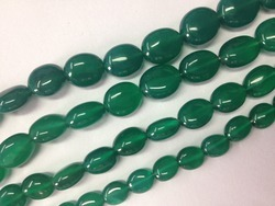 Green Onyx 6-11mm Smooth Oval Shape Bead Strands