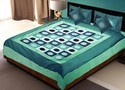 5 Piece Designer Blue Silk Bed Linen Set 369