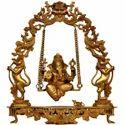 Ganesh On Swing Statue Metal Brass Made Showpiece, Size: 15x15x18 Inch