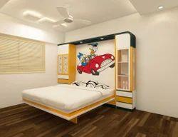 White And Lemon Yellow Kids Wall Bed, Mattress Size: 60 X 75 inch
