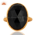 18k Yellow Gold Plated Silver Black Onyx Gemstone Ring