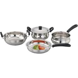 Polished Stainless Steel Induction Base Cookware Set, For Home
