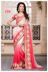 Georgette Red and White Saree