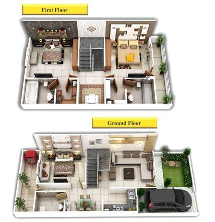 3d House Plans, Duplex 3d View in Bhel, Bhopal, Rajora Infra Homes ...