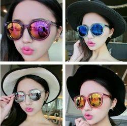 Female Round Fashion Sunglasses, Size: Medium
