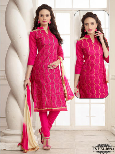 Party Wear Chanderi Embroidery Dress Material