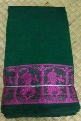 Green Cotton Dance Practice Saree, Without Blouse Piece