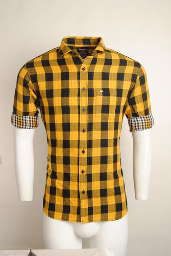 58579a9d4 Cotton Yellow Checked Urban Design Casual Shirts, Size: M, LX & L ...
