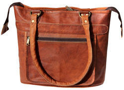 Brown Natural Non-Branded Classic Finish Handmade Vintage Leather Ladies Handbag, Pure Leather: Yes