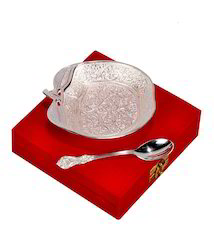 Silver Plated Apple Shaped Brass Bowl