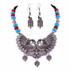 Jewels Dunia Party Wear German Silver Oxidized Necklace Set