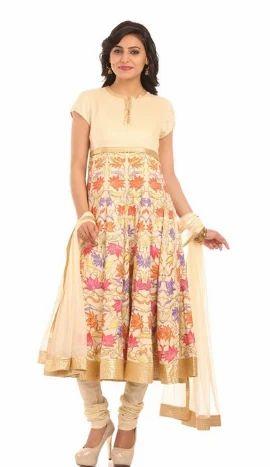 Stylish Cream Anarkali Model Suit