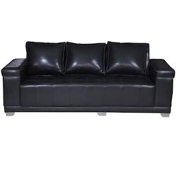 Black 3 Seater Faux Leather Sofa, Size: 25 X 65 X 24 Inches