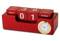 Wooden Calendar with Clock