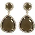 Smoky Quartz CZ Set Gemstone Earrings