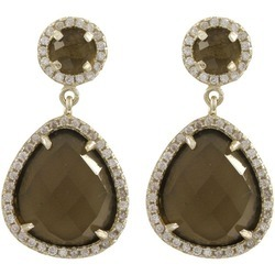 Smoky Quartz CZ Set Gemstone Earrings