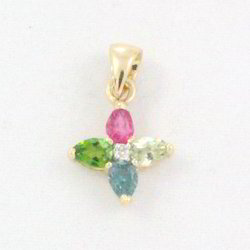 Tourmaline And Diamond 14K Yellow Gold Pendant