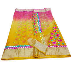 Party Wear Multicolor Mirror Work Cotton Saree, 6.3 m (with blouse piece)
