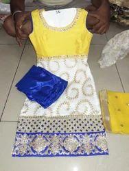 Female Synthic Readymade Kids Punjabi Suit
