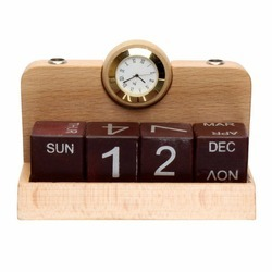 Wooden Calendar With Clock And Pen Stand