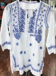 White On Colour Emb Cotton Kurtie