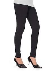 Black Lycra Ankle Length Leggings, Slim Fit