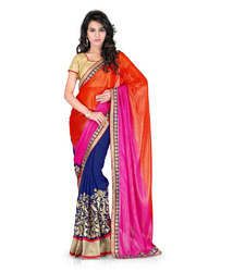 Chiffon Printed Indian Sarees with Blouse Piece