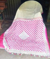 White And Pink Party Wear Linen Cut Work Saree, Hand Made