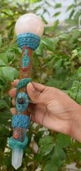 Tibetian Healing Wand-s1, Rose Quartz Ball, Red Jasper Facet