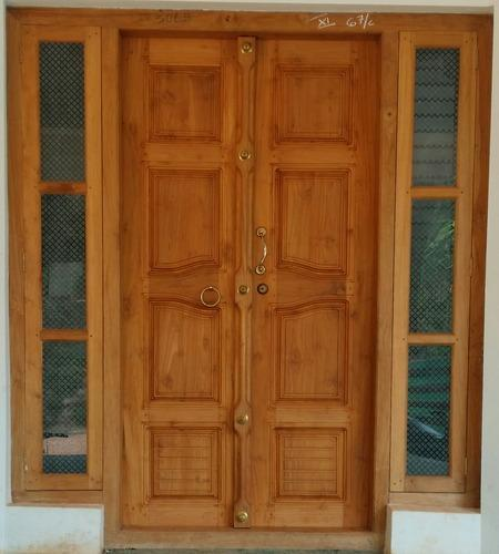 Classy doors windows kannur wholesaler of wooden for Double door wooden door