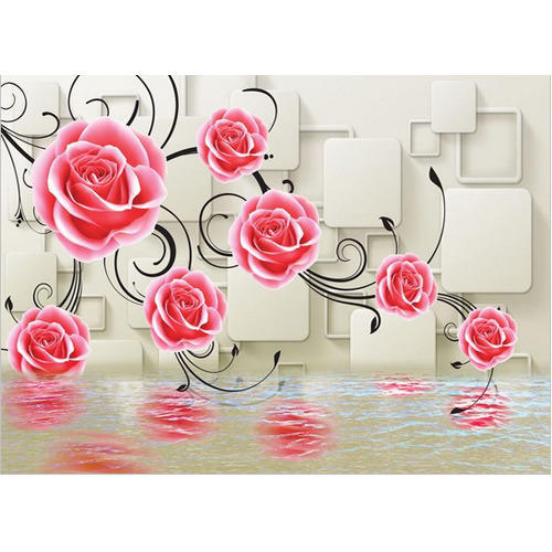 Multi Color Vinyl Non Woven Wallpaper With Flower Size As Per