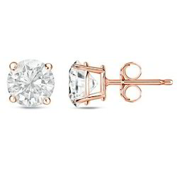 Rose Gold Solitaire Diamond Studs