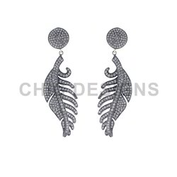 Pave Diamond Leaf Feather Earrings