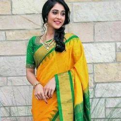Silk Real Zari Silver Sri Laxmi Gadwal Handloom Pure Pattu Kuttu Sarees, 6.3 m (with blouse piece)