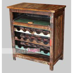 Reclaimed Wooden Wine Bar, Size: 77x43x90 cms