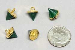 Green Onyx Gold Cone Shape Pendant