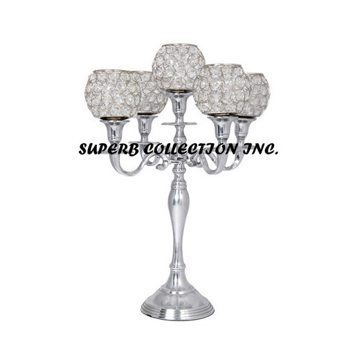 Five Arm Candelabra With Crystal Ball