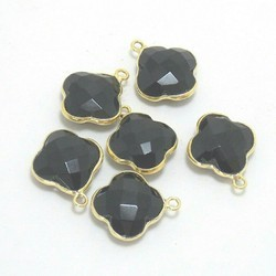 Black Onyx Gemstone Bezel Connector