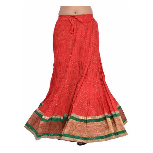 Rajasthani Skirt - D&D Women's Cotton Full Length Border Lace Work ...