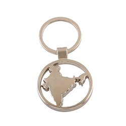 Steel India Map with Ring Key Chain