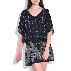 Women Black Printed Dress, Size: S, M & L