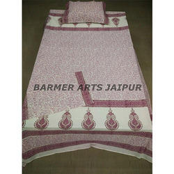 Cotton Hand Block Printed Bed Sheet With Two Pillow Cover