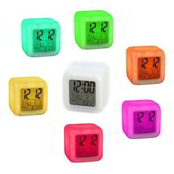 7 Colors Glowing Change Alarm Clock Digital Thermometer Cube LED Clock Time TG