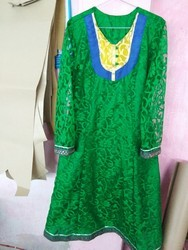 Green Party Wear Anarkali Type Kurtis